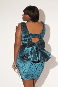 Velvet Plus Size Open Back Bow Dress Retro 80's Style #UNIQUE_WOMENS_FASHION