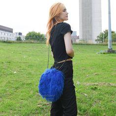 £58.00 #fur #bag #furbag #womenswear #womenfashion #womenstyle #womenoutfit #ladyfashion #ladystyle #bags #accessory #lambskin #purse #pursebag #sheepskin #sheepskinbag #girlsfashion #girlstyle #girlsoutfit #mystyle #boutique #giftforher Lamb Shoulder, Fur Bag, Leather Trench Coat, Nylon Bag, Everyday Bag, Mongolia, Fur Collars, Royal Blue, Handbags