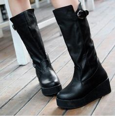 Women knee high boots fashion eather/PU boots Z-XS-X-60 black