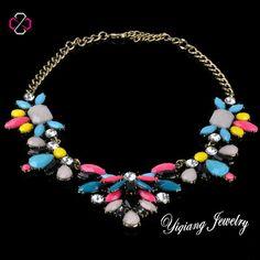 Multicolor Technicolor Floral Necklace