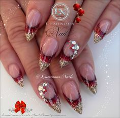 Luminous Nails: Red & Gold Glittery Acrylic Nails with Bling for Christimas