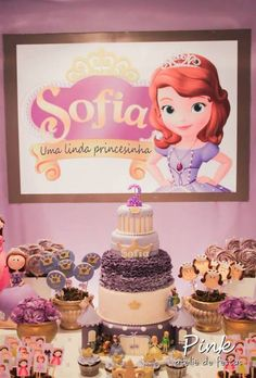 Fun cake and treats at a Sofia the First Party.  See more party ideas at CatchMyParty.com.  #sofiathefirst #partyideas