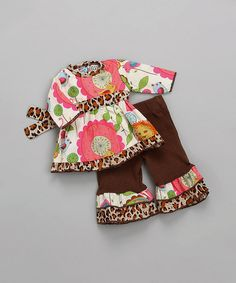 Look at this AnnLoren Pink & Brown Zoo Outfit for 18'' Doll on #zulily today!