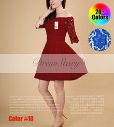 Off  Shoulder Maroon Lace Chiffon Mini Dress with by DressStory