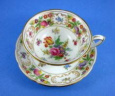 Striking Hammersley Dresden Sprays Tea Cup and Saucer Set