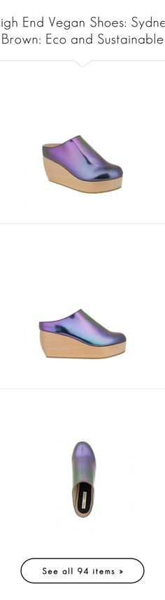 """""""High End Vegan Shoes: Sydney Brown: Eco and Sustainable"""" by kurious ❤ liked on Polyvore featuring shoes, clogs, clog shoes, clogs footwear, loafer shoes, boots, platform boots, platform shoes, pumps and flats"""