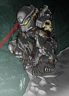 Primal Predator by Ronniesolano on DeviantArt Predator Movie, Alien Vs Predator, Arte Alien, Alien Art, Arte Horror, Horror Art, Alien Concept Art, Ange Demon, Science Fiction