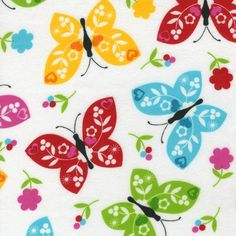 Robert+Kaufman+Ella+FLANNEL+BRIGHT+BUTTERFLIES+by+NauvooQuiltCo,+$4.50