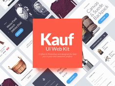 Kauf is a UI Web Kit crafted in Photoshop and designed to help you in your next awesome web project. This pack comes with design elements vector - posted under Freebies by Fribly Editorial Ui Kit, Web Design, Graphic Design, Shops, Web Project, Freebies, Mobile App Design, Free Logo, Photoshop Design