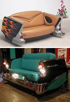 "CARS! :  These are some beautiful examples of how to ""repurpose"" car parts into some great home pieces!"