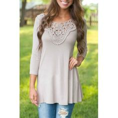 Brief Round Neck 3/4 Sleeve Hollow Out Spliced Women's T-Shirt (GRAY,XL) in Tees & T-Shirts | DressLily.com