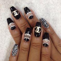 black chanel nails