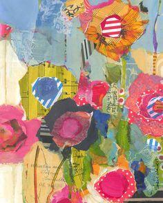 Wildflowers III original mixed media painting