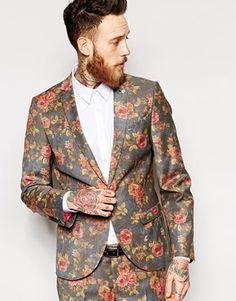 Noose & Monkey Rose Print Suit Jacket In Skinny Fit - Navy