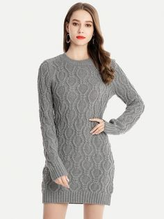 a9368bfe7da Vinfemass Solid Color Knitted Slim Sweater Dress