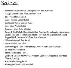 Healthy Salad Menu