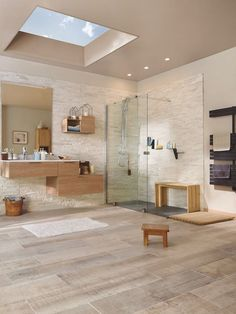 Large bathroom with shower on the floor in large space with clear parquet floor Rectangular wooden bathroom furniture small benches then light window on the ceiling Bathroom Interior Design, Modern Interior Design, Interior Decorating, Wooden Bathroom, Bathroom Furniture, Diy Furniture, Small Bench, Large Bathrooms, Wooden Flooring