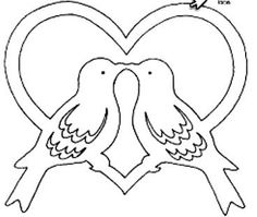Two doves – Knippen Wood Carving Patterns, Stencil Patterns, Stencil Designs, Bird Template, Heart Template, Kirigami, Coloring Books, Coloring Pages, Moldes Para Baby Shower