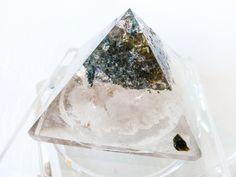 The Phantom Pyramid Jewelry Box Beveled Glass Display with Quartz Crystal