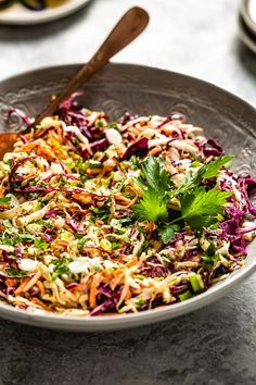 This Greek Yogurt Coleslaw recipe is a healthy version of the classic picnic side dish made with a creamy yogurt coleslaw dressing recipe without mayo. GF Coleslaw Recipe Yogurt, Coleslaw Sauce, Healthy Coleslaw Recipes, Yogurt Chicken Salad, Vegetarian Recipes, Healthy Coleslaw Dressing, Picnic Side Dishes, Tzatziki Recipes, Greek Yogurt