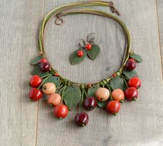 Cherry necklace Red cherries jewelry Boho by JewelryByCompliment