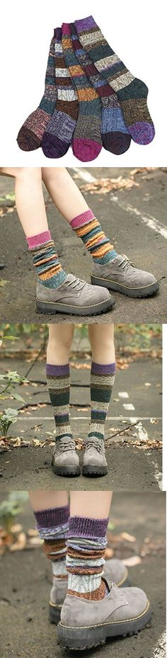 Leg Warmers 163587: Santwo Colorful Stripe Warm Wool Blend Knited Hold-Up Boot Crew Socks Leg... -> BUY IT NOW ONLY: $30.19 on eBay!