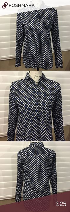 J. Crew Blue Floral Half Button Down Long Sleeve 2 In great condition. No flaws. J. Crew Tops Button Down Shirts