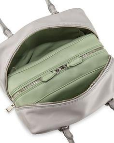 Prada Medium soft calf inside bag in gray and mint (granite + acquamarino)