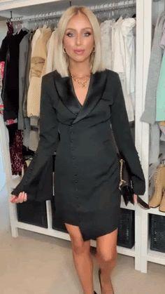 Rosie Connolly Puff Shoulder Mini Dress in Diamante Black Velvet Black Velvet, Classic Style, Design Inspiration, Shoulder, Mini, Fabric, Sleeves, Fashion Trends, Outfits
