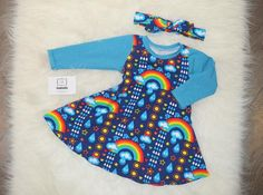 Rainbow Contrast Dress | Sewkuddly - Baby & Toddler Clothing