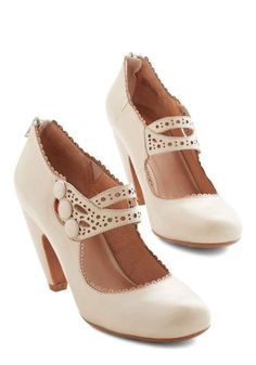 Dance the Day Away Heel in Cream by Miz Mooz - Cream, Solid, Buttons, Cutout, Wedding, Holiday Party, Bridesmaid, Bride, Mid, Leather, Variation, Scallops
