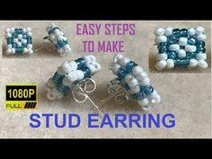 Easy layered stud earrings ~ Seed Bead Tutorials