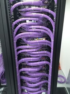 "Beautiful cable runs into an 19"" rack. Excellent even with cable ties!"