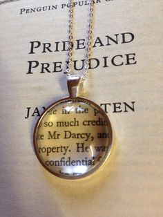 Pride and Prejudice Mr Darcy Book Page Necklace by EnchantingGlass