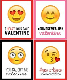 Free printable emoji Valentine's Day cards from My Sister's Suitcase