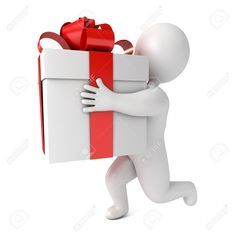 Funny White People Holding A Big Present. Conceptual Illustration... Stock Photo, Picture And Royalty Free Image. Pic 24723137.