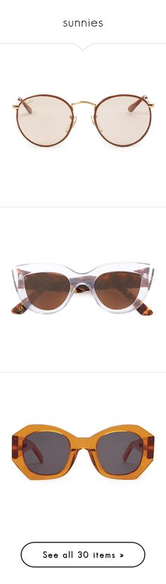 """""""sunnies"""" by colorcool ❤ liked on Polyvore featuring accessories, eyewear, sunglasses, glasses, jewelry, brown, round frame sunglasses, round frame glasses, ray ban sunnies and brown sunglasses"""