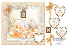Teacup Kitten In Peach Frame 8 x 8 Card Topper on Craftsuprint - Add To Basket!
