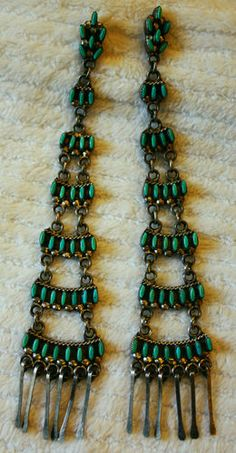 """Vintage extra long Zuni Petit Point Turquoise & Silver Chandelier Earrings 5 5 8"""" Long"""
