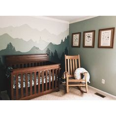 We love this outdoors themed nursery! The mural is gorgeous, as are the framed field guide prints from ⠀ Did you, or are you planning, do a custom mural in your little one's room? Baby Nursery Decor, Baby Bedroom, Baby Boy Rooms, Baby Boy Nurseries, Baby Decor, Nursery Room, Outdoor Nursery Themes, Nursery Ideas, Baby Boys