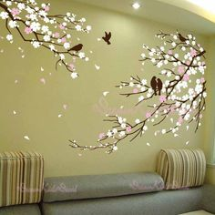 Items similar to Cherry Blossom Branches with Birds - Vinyl wall sticker- wall decal- tree decals- wall murals art - nursery wall decals- Floral-Nature on Etsy Wall Painting Decor, Tree Wall Decor, Mural Wall Art, Nursery Wall Decals, Vinyl Wall Stickers, Tree Wall Murals, Painting Walls, Tree Wall Art, Mirror Stickers
