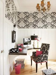 Black, white, pink home office: Love the built-in desk!