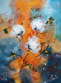 Tableau fleurs de pavots blancs - peintures-axelle-bosler : Peintures par peintures-axelle-bosler