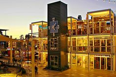 Container Park: Sustainable shopping and entertainment center made from 30 shipping containers and 41 multi-functional modular cubes. A lot of fun and must see in the revitalized downtown Las Vegas