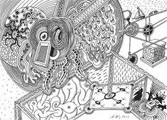 """""""peculiar tragedy"""", #Zeichnung #Pigmenttusche (Staedtler Pigment Fineliner) auf #Hahnemühle #Papier """"Nostalgie"""", 190 g/m2 21 x 29,7 cm, © #matthias #hennig 2018    """"peculiar tragedy"""", #india #ink #drawing (Staedtler Pigment Fineliner) on Hahnemühle #paper ,190 g/sqm 21 x 29,7cm, © #matthias #hennig 2018 #mystaedtler #hennigdesign #artwork #moremoneyforartists #unexpected #fish #fisch"""