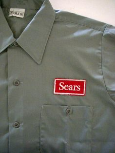 Vintage 60s Men's Sears Logo Work Shirt  Gray by OmAgainVintage, $30.00