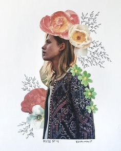 Muse No 4 flower collage by kate rabbit