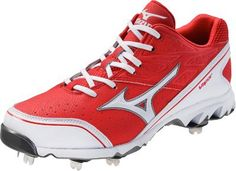 Mizuno Men's Vapor Elite 6 Baseball M US. Forefoot Flex response with Pro Flex multi-zone flex points. Parallel Wave Technology midsole provides cushioning and stability. Size: D(M) US. Metal Baseball Cleats, Baseball Shoes, Air Max Sneakers, Sneakers Nike, Softball, 5 D, Nike Air Max, Red And White, Footwear