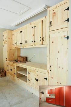 Cabinets for Garage Diy . Cabinets for Garage Diy . Garage Ideas Flooring Cabinets and Storage solutions Made Garage Shelf, Garage House, Garage Cabinets Diy, Garage Shelving, Diy Garage Work Bench, Pallet Kitchen Cabinets, Car Garage, Garage Office, Rustic Cabinets