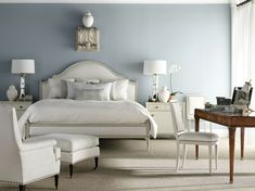 When nothing else but white will do, make it pop with a touch of blue.